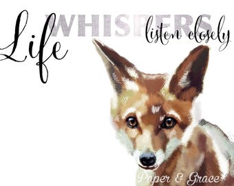 Fox and quote A4 print