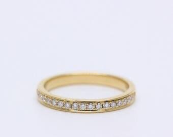 18K Yellow Gold Channel set diamond band