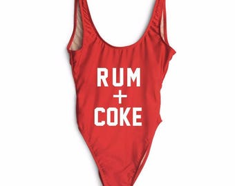 Rum & Coke Swimsuit, Bodysuit, One Piece, Bathing Suit, Music Festival Outfit