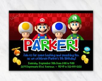 Super Mario Bros Invitation for Birthday Party - Printable Digital File