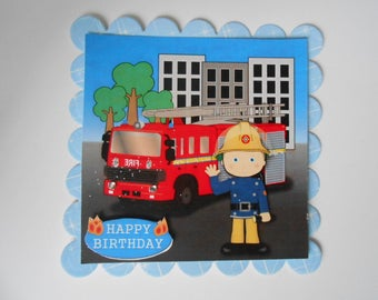 Pack 2 Fireman Fred Embellishment Toppers for cards and crafts