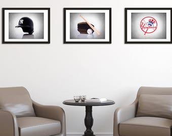 New York Yankees 3 wall art prints, New York Yankees, sports wall art, sports decor, man cave decor, baseball prints, boys room decor