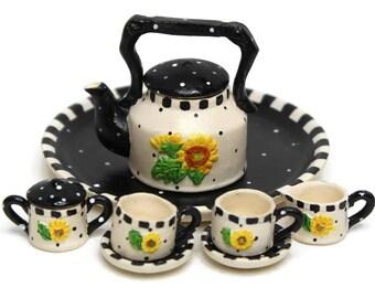 Dollhouse Miniature Matte Porcelain Tea Set, Sun Flower Design, Miniature Fairy Garden Accessories, DIY Charm Pendant, Jewelry-Making Supply