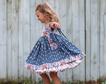 Little Girl Dresses, Little Girls Clothing, Girls Blue Dress, Kids Clothing, Girls Custom Dress, Girls Summer Dress, Toddler Dress, Handmade