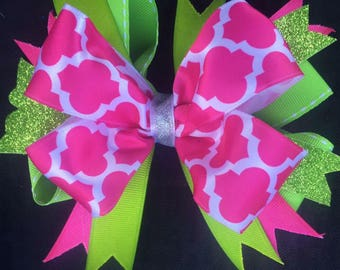 Pink Green hair bow boutique hair bow glitter babies toddlers girls over the top hair bow