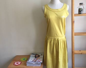 Vintage cotton dress, japanese vintage dress, mustard cotton sleeveless dress, L
