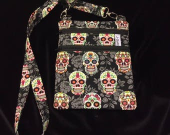 Cross Body Bag - Green Sugar Skulls