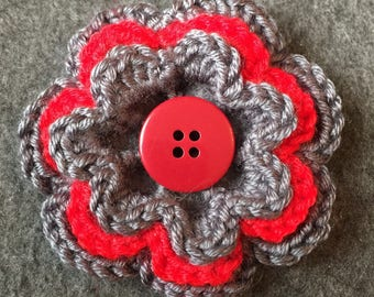 Large red grey crochet flower clip for hair, hats, clothes