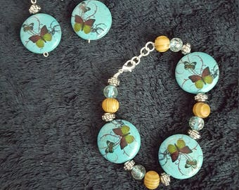 Wood and teal butterfly bracelet and earring set