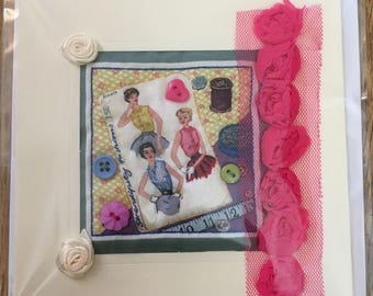 Hand Crafted Quilted Stitched Cards Birthday Thank You Thinking Of You Vintage Fashion