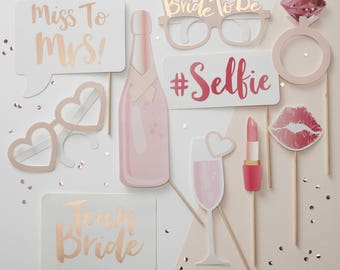 Hen Party Photo Booth Props, Team Bride, Hen Party Photo Props, Bridal Party, Rose Gold & Pink Hen Do Props, Bachelorette Photo Props