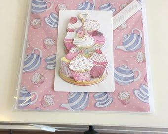 Ladies birthday card, cupcake theme, decoupage