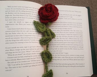 Crocheted Enchanted Rose Bookmark