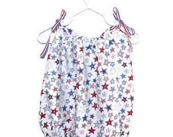Memorial Day / Independence Day baby girls cotton summer romper with patriotic ribbon detail -  Available in sizes 0-3 months to 3 years