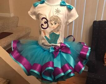 Elsa tutu set, Queen Elsa tutu set, frozen tutu set, Elsa birthday outfit, frozen birthday set, Elsa shirt, frozen tutu set