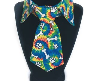 Dog Shirt Collar and Tie/Bow Tie, Tie Dye Collar