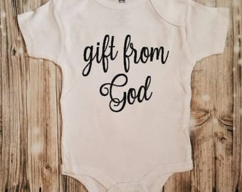 Gift from God Bodysuit - Religious Bodysuit - Christian Baby Shower Gift - Religious Baby Outfit - Newborn Religious Clothing