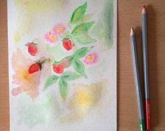 Strawberries - watercolor - image - plant