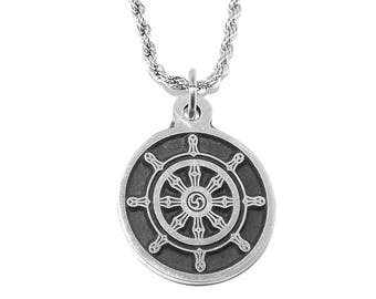 Black Pewter Dharma Chakra Buddhist Wheel Pendant Necklace with Chain