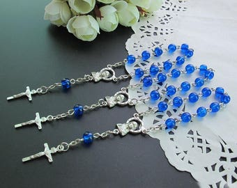 24 Pcs Blue Glass Mini Rosary Favor for Baptism / Christening / First Communion / Quinceanera / Wedding / Recuerdos de Bautizo-JA378-Blu