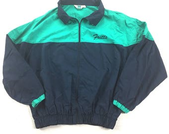 Vintage 80s / 90s Turfer Zip Up Jacket - Teal and Navy - Made in the USA