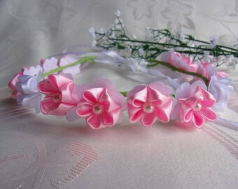 Wedding Ribbon pink satin Crown and and with kanzashi flowers bridal white/Crown