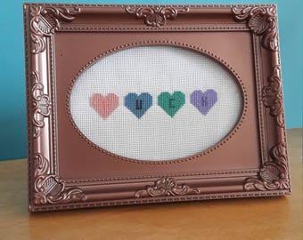 F*ck love hearts cross stitch
