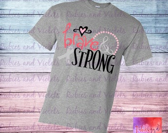 Cancer/'Brave & Strong' with Ribbon/Heart/Dots Baby Onesie/Shirt/Tank Top/Chemo Shirt/Cancer Survivor Shirt/Breast Cancer/Child Cancer