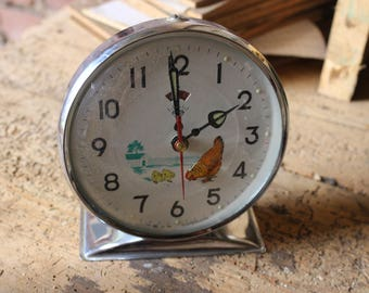 French alarm clock mechanical antique vintage from the 60's collection