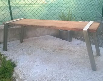 Stainless steel bench and wood