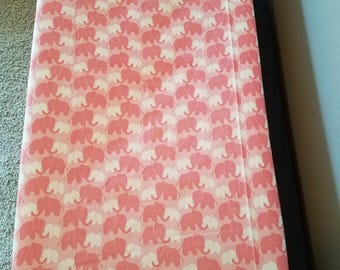 Changing Pad Cover Elephants Pink White Animal Girl Nursery