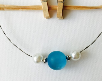 blue polaris & pearl necklace