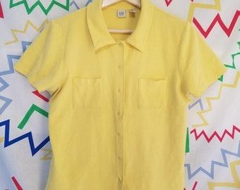 90s GAP yellow collared shirt
