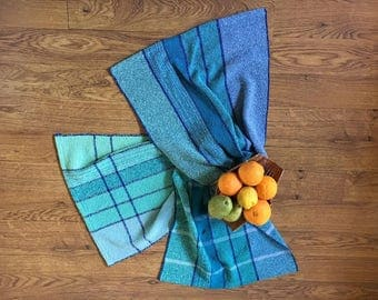 Handwoven kitchen towels/ blue