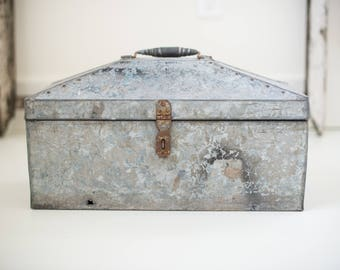 beautiful galvanized metal toolbox/planter