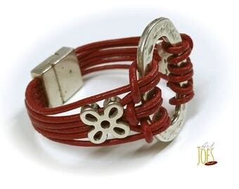 With beading and leather cord bracelet