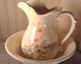 Vintage Wash Basin and Pitcher Set, McCoy Pottery, McCoy Pitcher and Basin, Ivory Rose 7549 Basin and Pitcher, Ceramic Water Pitcher & Basin
