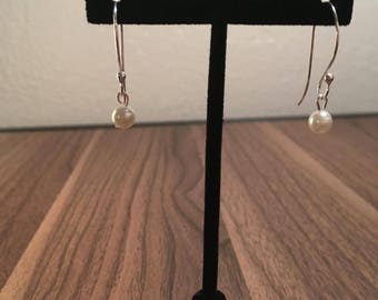Sterling Silver Pearl Dangling Earrings