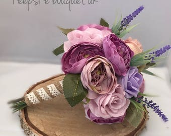 Rustic style purple and lilac bouquet. Rose and peony.