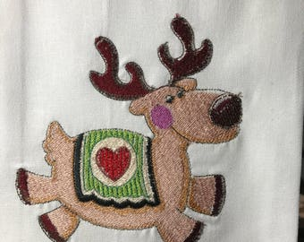 Reindeer with Heart Tea Towel