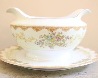 Vintage Hand Painted Meito Gravy Bowl