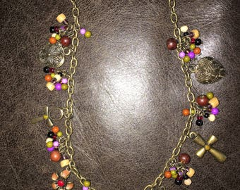 Purple Flower Necklace with Matching Earrings