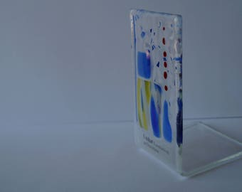 Glass lantern from fusing glass, handmade