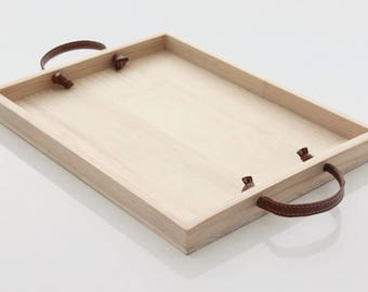 Wood decorative tray with handles