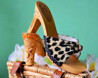 Hand carved wooden bakya Plumeria shoes by Tiki-Lou Hawaii