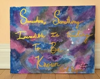 Watercolour Galaxy with Carl Sagan Quote