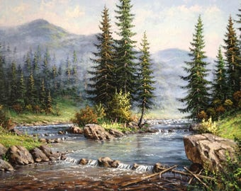 landscape,mountains,river,oil painting,water,sky,stones,