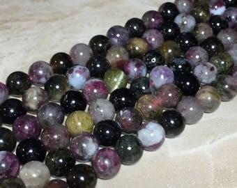8mm Multi color Tourmaline Gemstone Round 8mm Loose Beads 15.5 inch Full Strand, Multi color Tourmaline Beads, Tourmaline Beads