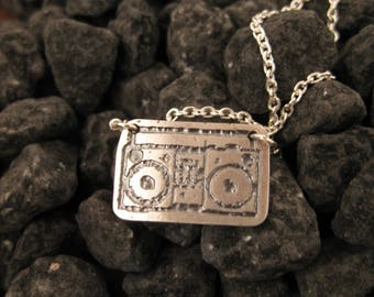 Stirling Silver Etched Boom Box Pendant/Necklace