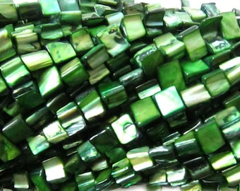 8x6mm Natural Nugget Shell Beads Full Strand Abalone MOP Mother of Pearl Green